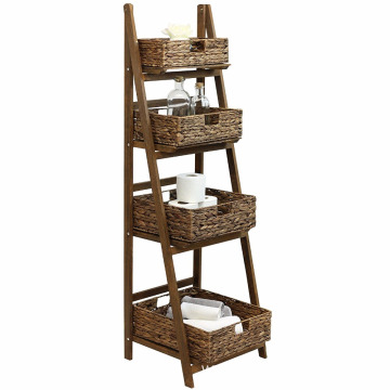 4 Tier Brown Ladder Shelf with Brown Wicker Basket Set